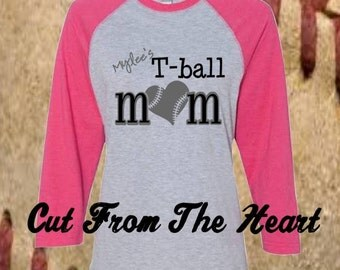 Personalized Tee Ball Baseball Shirt ~ Game Day Shirt ~ Tournament Shirt ~  Team Pride Shirt ~ Monogram ~ Mom