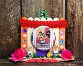 Day of the Dead Loteria Shrine / Skeleton Pin Ornament / Dia de los Muertos Decoration / All Souls Day Ofrenda / El Panadero