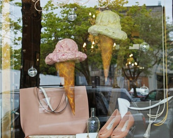 Oversized Ice Cream Shop Cone Props for Windows, Photos or Kids Room