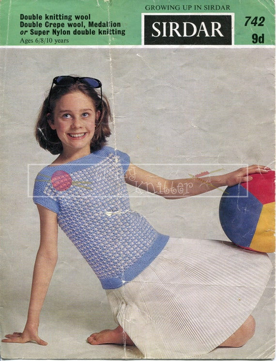 Girls Summer Jumper 6-10 years DK Sirdar 742 Vintage Knitting Pattern PDF instant download