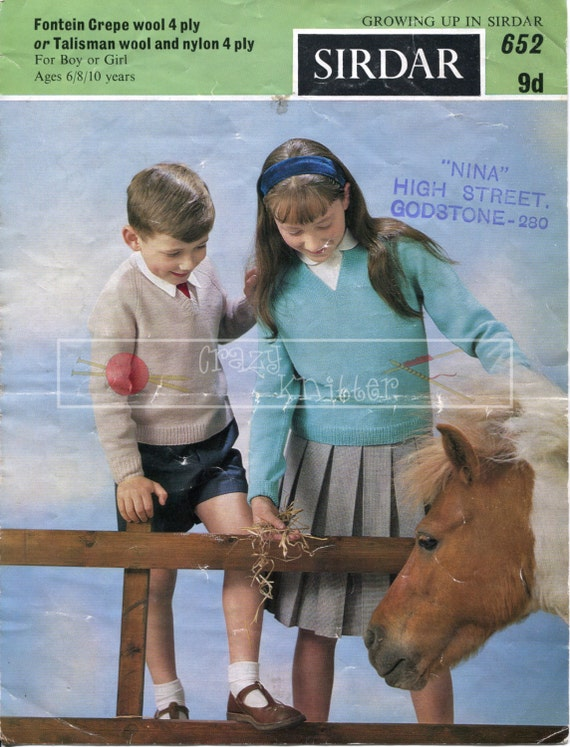 Children's Raglan Pullover 6-10 years 4-ply Sirdar 652 Vintage Knitting Pattern PDF instant download