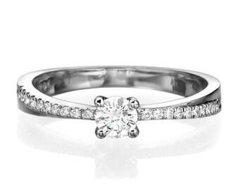"GIA Twist Diamond Engagement Ring 0.39 carat E/Vs2 ""Twisty spirit"" White/ Yellow/ Rose 14K gold Natural diamond"