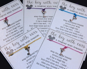 12 Mouse with Ears Key (Minnie) Mouse Inspired Key Wish Bracelets ... Great for Birthdays ... Party Favors and More!