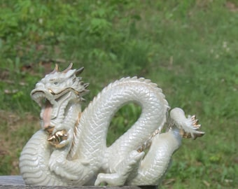 Vintage Japanese White and Gold Dragon