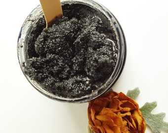 Detoxifying Facial Scrub, Black Sugar Scrub w/ Activated Charcoal Cleaser, Detox, Facial Cleanser, Oil Cleanser, Acne, Skin Care, Face Scrub
