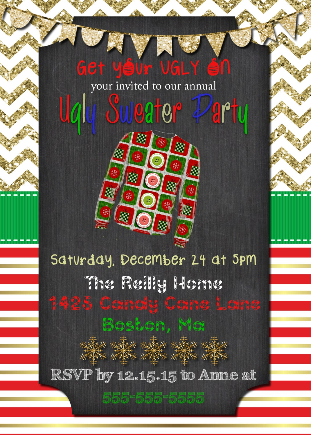 Tacky Christmas SWEATER Invitation Ugly Sweater invitations Party ...