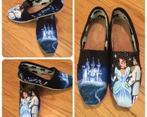 Magical Hand Painted Cinderella Shoes [cinderella and prince charming shoes]
