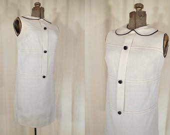1960s Dress// 60s Shift// White Dress// Mini Dress// A Line Mod Twiggy Dress Small