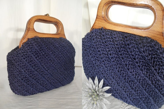 Retro Handbags, Purses, Wallets, Bags Vintage 1950s Handbag / Blue Box Bag / 50s Basket Purse / Blue Straw Purse / 1950s Summer Purse $36.00 AT vintagedancer.com