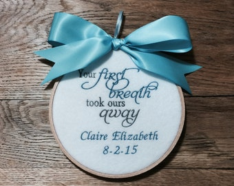Baby Shower Gift - Baby Gift - Your First Breath Took Ours Away - Nursery Decor - Baby Room Sign - Baby Room Decor - Baby Hoop Art