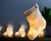 Christmas Stocking Lamp Light Garland Night Felt Eco Design White LED battery-powered