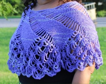 Purple Shimmer Diamond Crochet Poncho - Women's Poncho