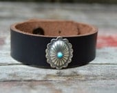 Turquoise Concho Leather Bracelet. Boho. South Western Design. Cowgirl . Bracelet. Boho . By Nin and Bumm