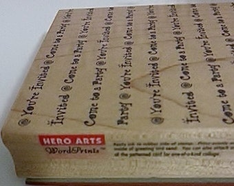 Hero Arts You're Invited Come To A Party WordPrint Background Large Rubber Stamp