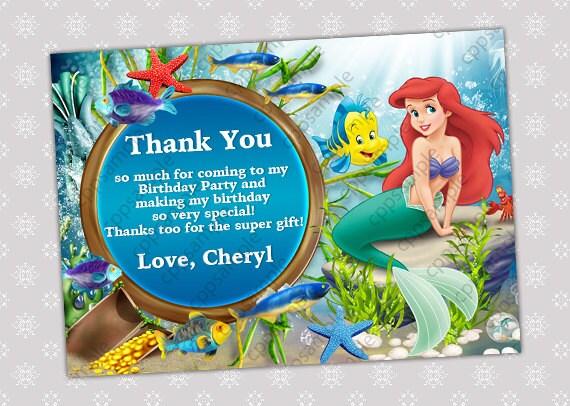 Items similar to Ariel Thank You Card Princess Ariel Thank You – Ariel Birthday Card