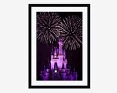 Photography Print - Fine Art Disneyworld Cinderella Castle Fireworks Travel Print Modern Wall Cling Art Print 4x6 5x7 8x10 11x14 16x20 20x24