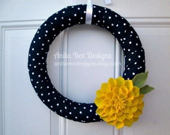 Spring Wreath, Navy Yellow Wreath, Navy Polka Dot, Dahlia Flower, Felt Flower, Modern Wreath, Home Decor, Spring Decor, Handmade Wreath