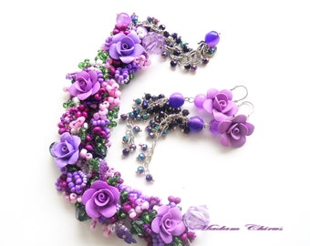 Вracelet and earrings,Bracelet with roses earrings ,with lilac roses,