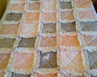 Crib Rag Quilt, Peach Deer Baby Quilt Gold Pink Gray Woodland Taupe Girl Ivory Minky Bedding Baby Blanket