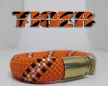 Tiger Striped Military and Second Amendment Right to Bear Arms Bullet Casing Support Bracelet