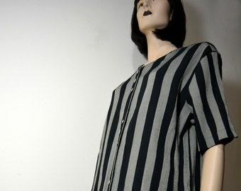 Textured Vertical Striped Short Sleeve Shirt, Gray & Black, Interesting Buttons, Eclectic, Earthy, Goth, Dark Romantic