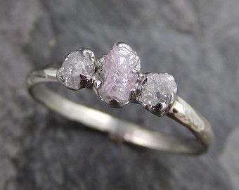 Dainty Raw Rough Pink Diamond Engagement Stacking ring Wedding anniversary White Gold 14k Rustic byAngeline 0232