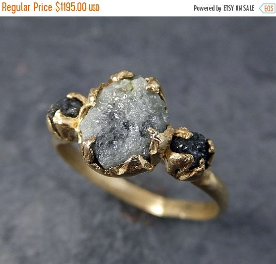 Just Married SALE Rough Diamond Engagement Ring Raw 14k Gold Wedding Ring Wed