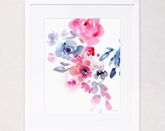 Pink and Indigo Floral No. 2 (Watercolor Art Print)