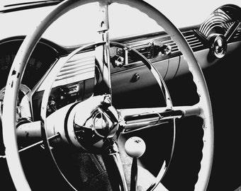 5 x 7 PRINT, classic car steering wheel black & white photo with 8 x 10 mat, car interior, mechanic, motor head
