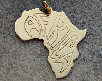 Africa pendant engraved with the word - great