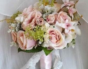artificial flower wedding bridal bouquet vintage rose pink