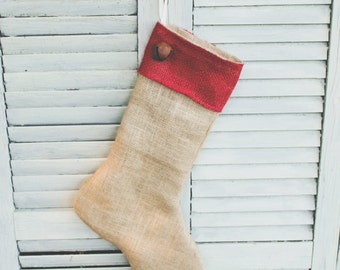 Handmade Burlap Christmas Stocking with Red Burlap Cuff and Bell