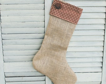 Handmade Burlap Christmas Stocking with Red and Tan Checkered Cuff and Bell