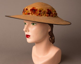 1940s Straw and Velvet Floral Hat