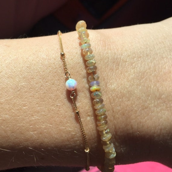 Opal bead bracelet - satellite bracelet - dew drops - a tiny opal bead on a 14k gold filled satellite chain