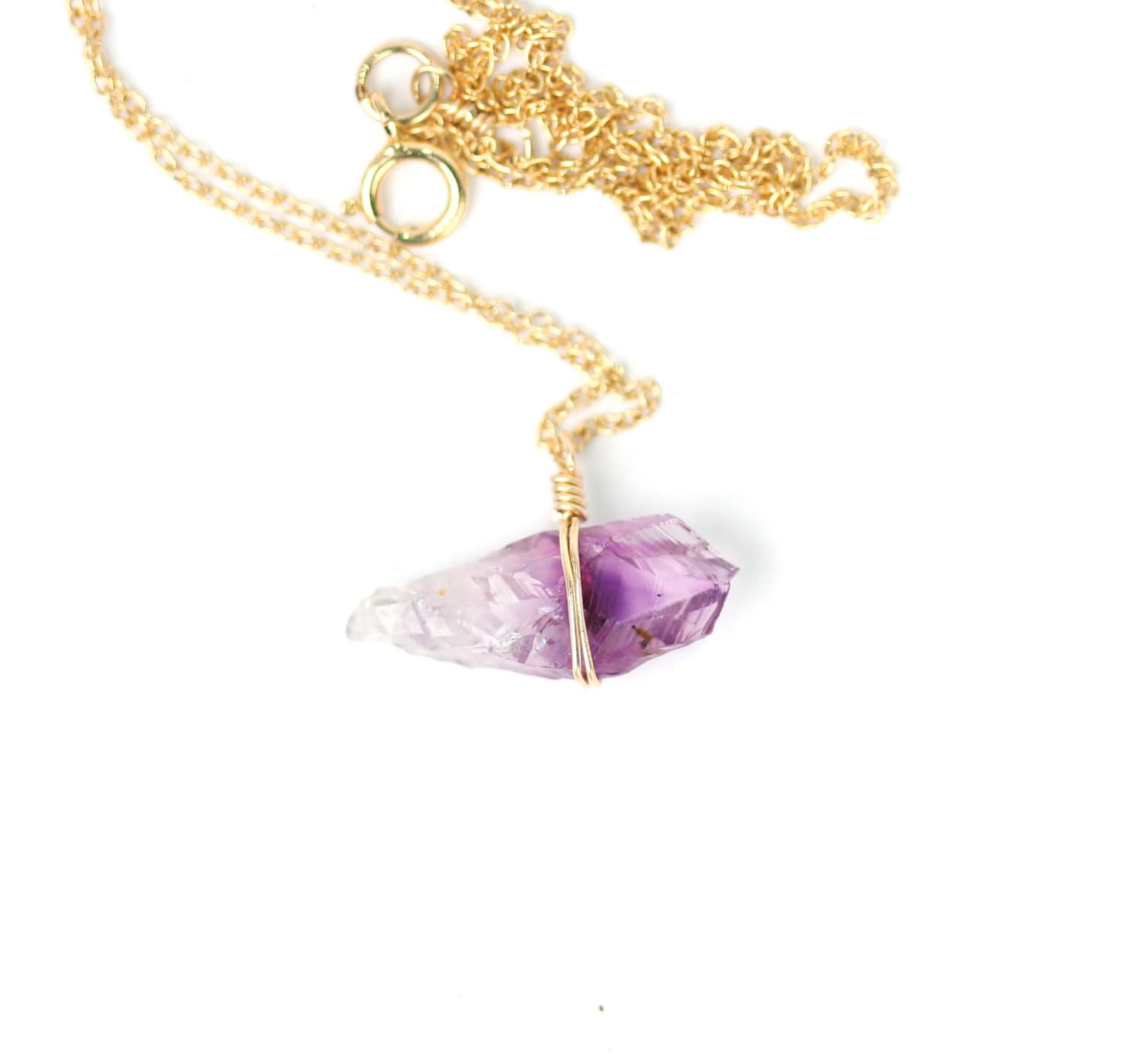 Healing crystal necklace raw amethyst necklace february