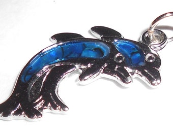Dolphins pendant 2 dolphin jumping together vintage jewelry Free USA Shipping