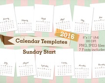 "2016 Calendar templates Sunday Starts 8x11"" A4 JPEG, PNG files, 7 fonts,  personal or commercial use"
