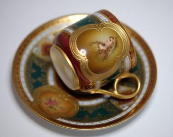 Antique Tea Cup, Bavarian H & Co Heinrich Porzellan, Small Tea Cup Demitasse, Wedding Table Bridal Tea Party Porcelain China Tea Cup