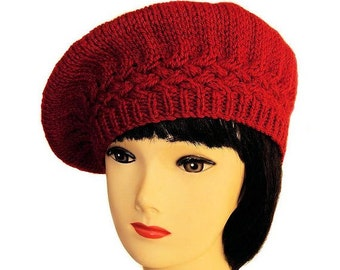 Red Beret, Red Hat, Wool Beret, Alpaca Hat, Hand Knitted, Beret Hats, Women's Clothing, Handmade Gifts for Her, Sue Maun