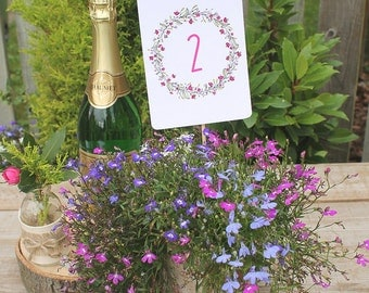 Floral Wreath PINK Wedding Table Numbers A6 - (numbers 1-10)