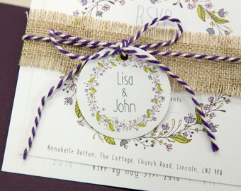Floral Wreath PLUM Personalised Gift Tags (Set of 50)