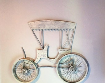 Amish Buggy Wall Hanging Whitewashed With Lavender Gray Undertones Made Out Of Medal
