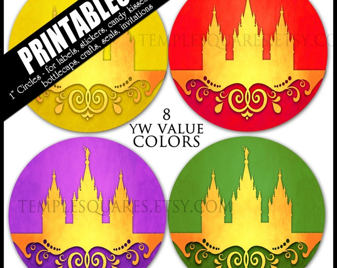 """YW Young Women Values Colors Printable 1"""" inch circles.  matches """"Press Forward"""" mutual 2016 theme  labels, stickers, or necklace kits"""