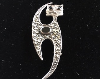 CAT PIN - DECO - Marcasite - 925A - Onyx Eyes and Front - Modernist Cat