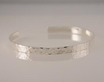 Silver hammered cuff bracelet. Hammered bangle bracelet. Silver bracelet. Personalized bracelet