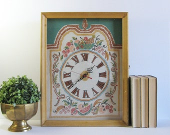 Vintage Cross Stitch Clock - Large Wood Clock Case - Working Quartz Clock - Battery Operated Wall Clock - Shadow Box Art - Roman Numerals