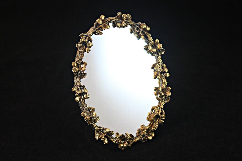 Vintage gold standing mirror gold filigree mirror gold for Gold standing mirror