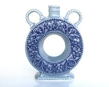 West german pottery circular bottle vase blue Mid century Modern westerwald stoneware floral design ceramic vase altenkunstadt bavaria