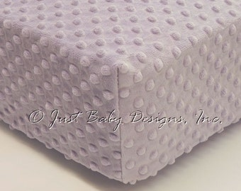 Fitted Crib Sheet - Minky Dot Lavender